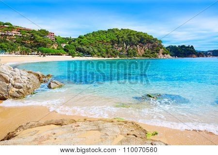 Cala Santa Cristina beach in Lloret de Mar of Costa Brava at Catalonia Spain