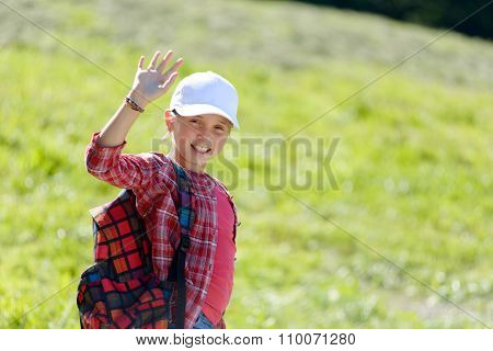 Schoolgirl With A White Cap, Goes To School
