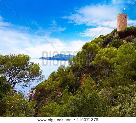 Sant Joan castle in Lloret de Mar at Costa Brava of Catalonia Spain