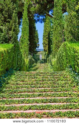 Santa Clotilde gardens in Lloret de Mar at Costa Brava of Catalonia Girona Spain