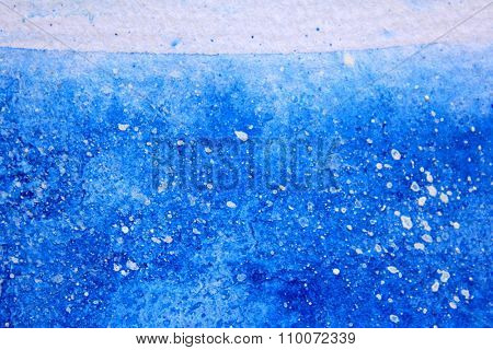 Blue Watercolor with snow background 15