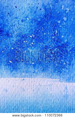 Blue Watercolor with snow background 11
