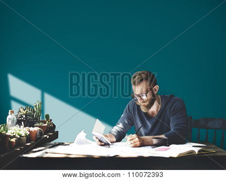 Businessman Studio Leisure Contemplation Corporate Concept