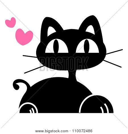 Vector cute cartoon black cat