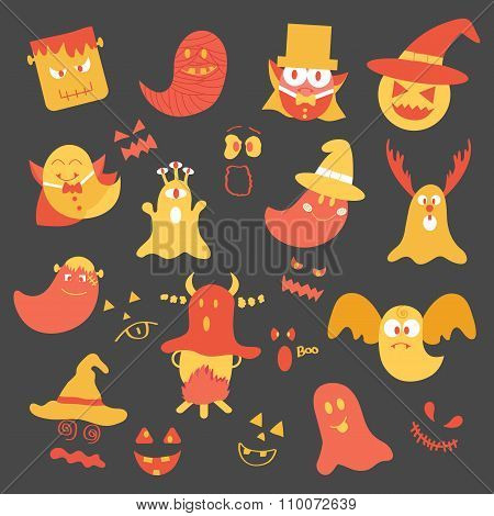 Flat Icon Monster Joyful In Halloween. Illustration Icon Decoration Monster In Halloween. Vector Cut