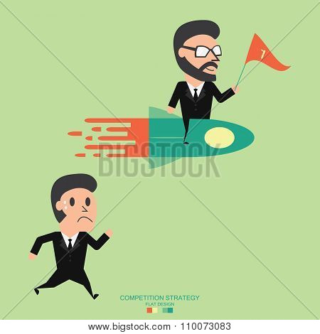 Competitive Strategy. Business Concept. Flat Illustration.