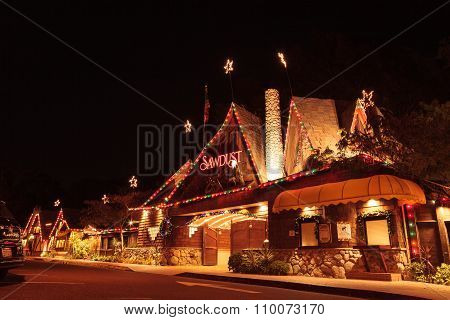 Christmas holiday lights at the Laguna Sawdust Arts Festival in Laguna Beach, California.