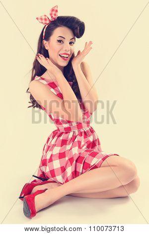 portrait of beautiful pinup woman
