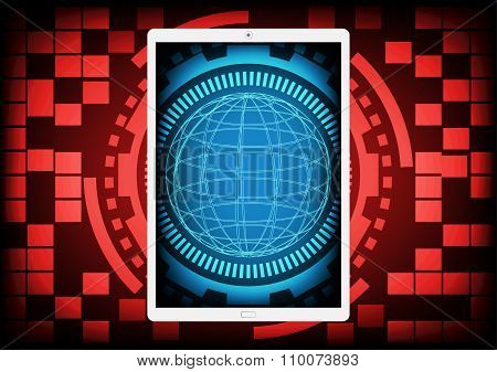 Mobile Phone With The Blue Circle Of Ring And Gears Inside On A Red Gear Ring Technology Background.