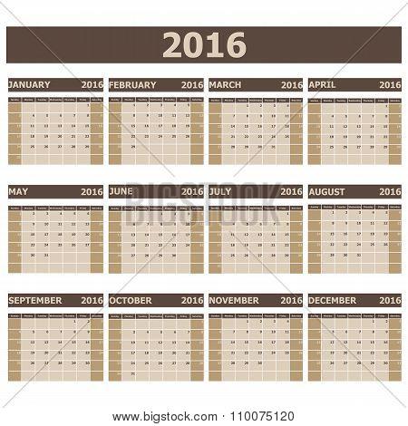 2016 Calendar Week Starts From Sunday