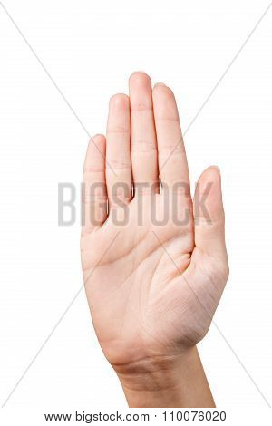 Hand make stop symbol