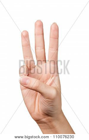 Hand signal. Three fingers.