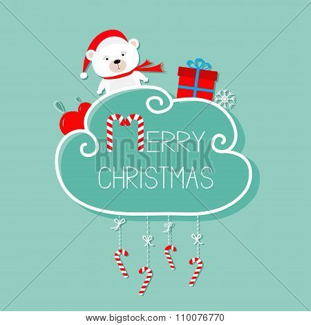 White Baby Bear, Giftbox, Snowflake, Ball. Merry Christmas Card. Hanging Candy Cane. Dash Line With