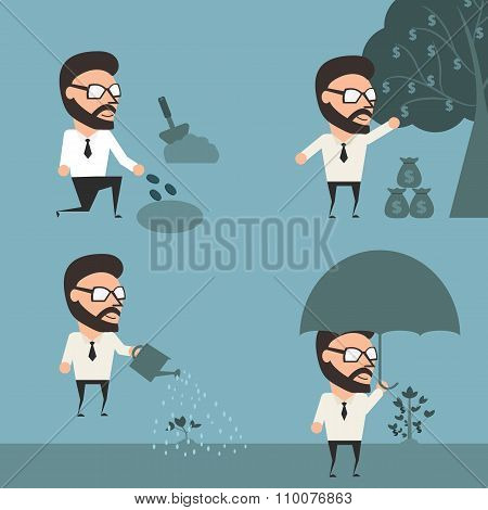 Finance Conceptual. Process Of Investment To Passive Income. Flat Design Illustration.