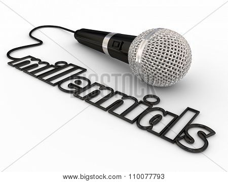 Millennials word in microphone cord to illustrate reaching out to Generation Y with communication, information or entertainment via radio, podcasts or public speaking events