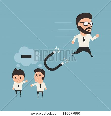 Psychology Concept. Businessman Run Away From Nagative Thinking. Flat Illustration.