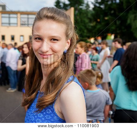 Young girl in prom party