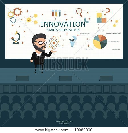 Businessman Presenting  On The Stage. Business Concept. Flat Illustration.