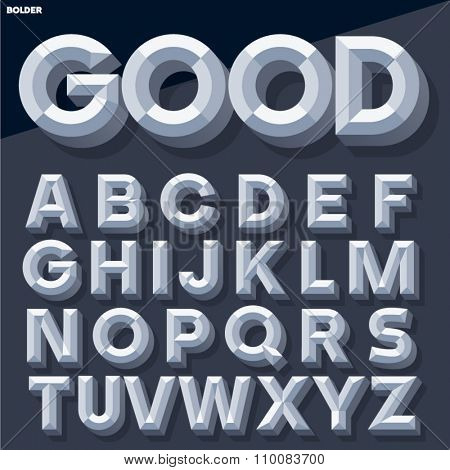 Vector 3D grey simple bold beveled alphabet with shadow. Simple colored version.