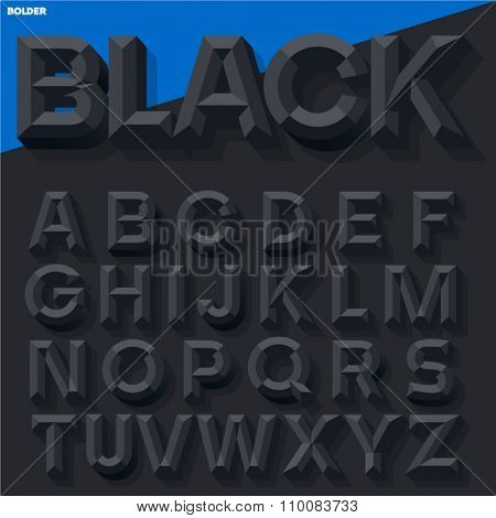 Vector 3D black simple bold beveled alphabet with shadow. Simple colored version.