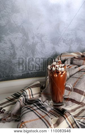 Hot cacao drink with marshmallows