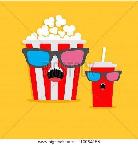 Popcorn Box And Soda Glass Screaming Characters In 3D Glasses. Cinema Icon Flat Design Style.