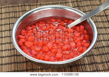 red ruby(tub tim krob) is a traditional dessert in thailand made with water chestnuts in coconut milk.