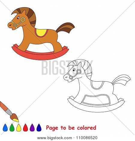 Rocking horse in vector cartoon to be colored.