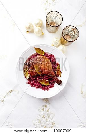 Duck leg with red cabbage for Christmas