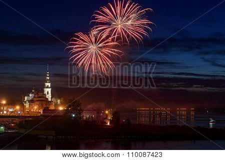 Fireworks Salute City River Background