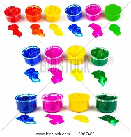 Many Color Paint Cans And Color Dabs Of Paint, Set