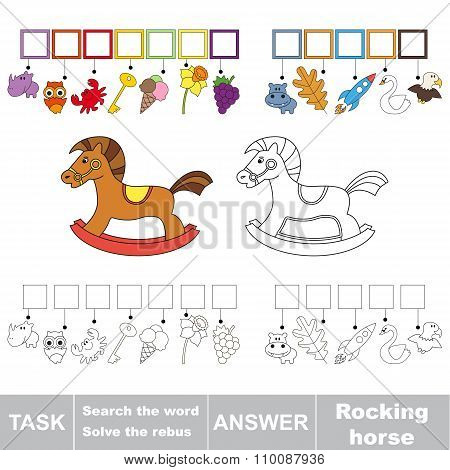 Vector game. Search the word. Find hidden word Rocking horse