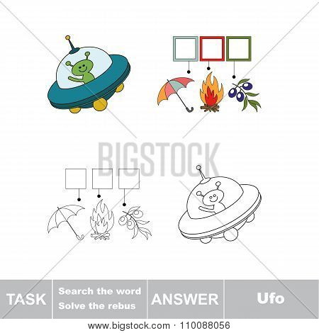 Vector game. Search the word. Find hidden word Ufo