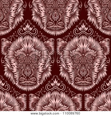 Abstract seamless pattern of repeating fiery monkey head