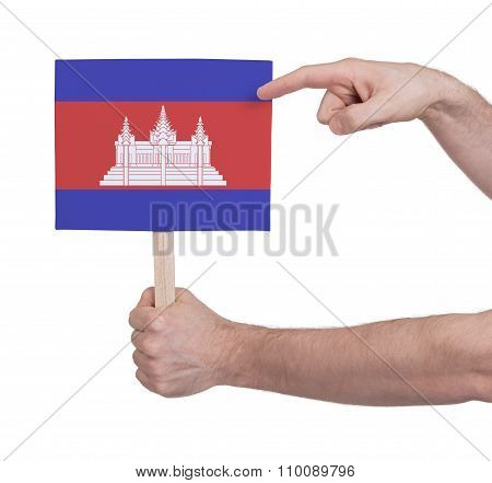 Hand Holding Small Card - Flag Of Cambodia