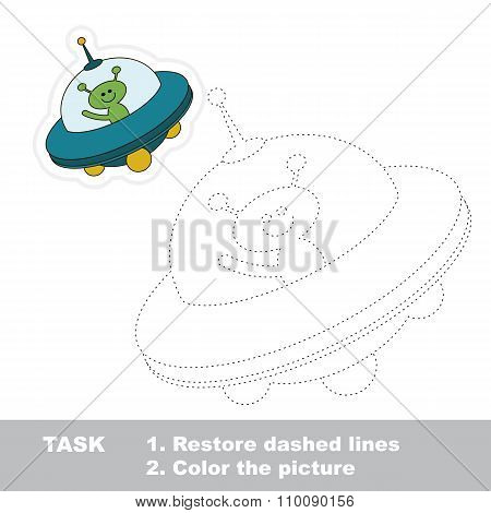 Cartoon ufo toy to be traced. Vector trace game.