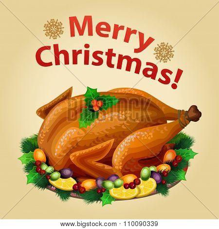 Christmas Turkey On Platter With Garnish, Traditional Christmas Food. Vector Illustration.