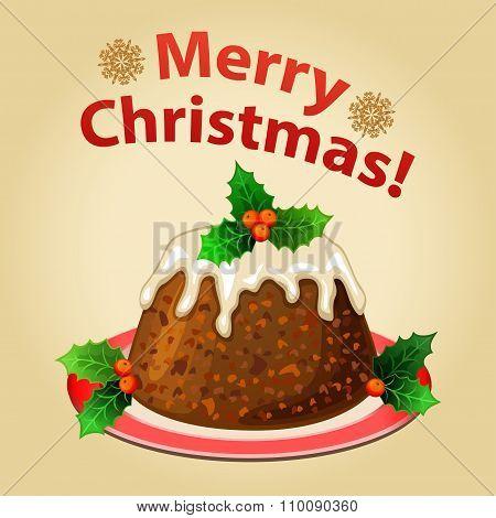 Christmas Homemade Pudding With Christmas Decorations, Traditional Christmas Dessert.