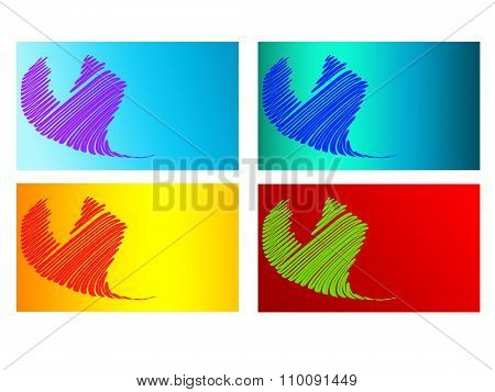 Set Of Heart Business Cards / Calling Cards / Name Cards Templates