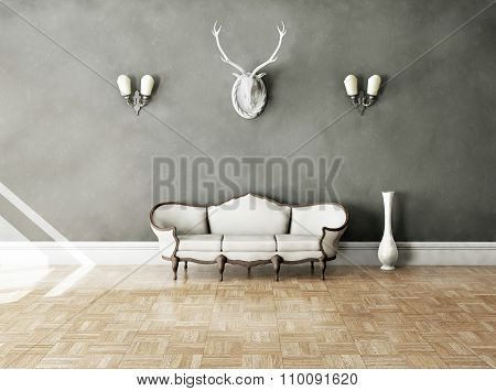 White classical style sofa in vintage room