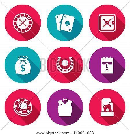 Casino Icons Set. Vector Illustration.