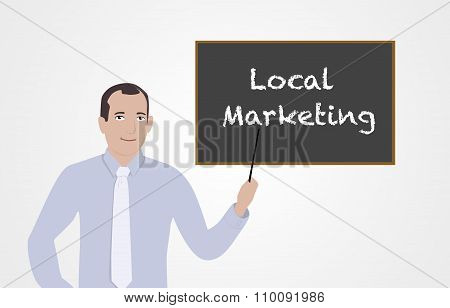 Businessman supporting local businesses