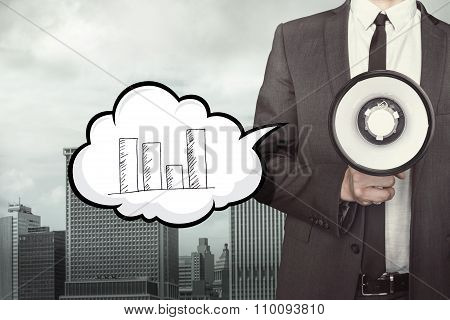 Graph concept on speech bubble with businessman and megaphone