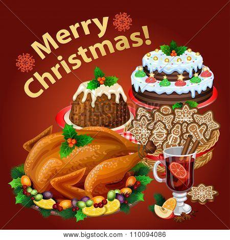 Christmas Dinner, Traditional Christmas Food And Desserts, Roast Turkey, Christmas Pie, Pudding