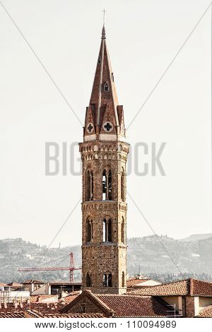 Badia Fiorentina Steeple In Florence, Italy