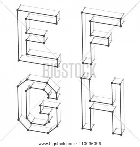 vector wireframe font alphabet letters E F G H