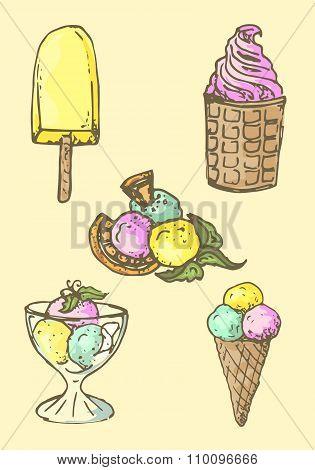 Illustration. Set Of Ice Cream. Assorted.