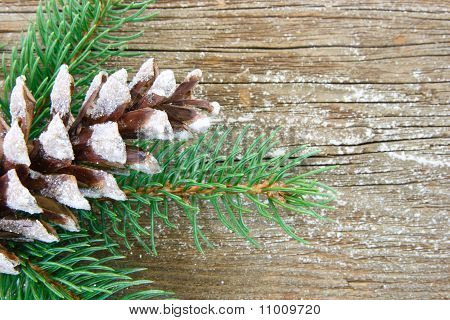 Glittery Pine Cone On Wood Background