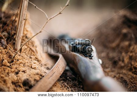 German military ammunition of World War II on ground.