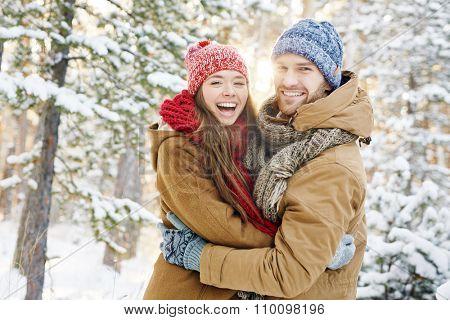 Ecstatic dates in winterwear enjoying nice time